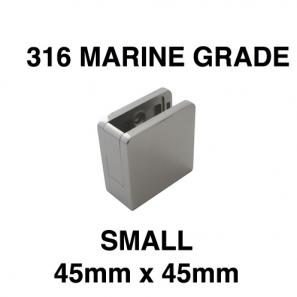 A1150 - Small Square 316 Stainless Steel Glass Clamp - Bottom Retainer