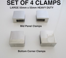 Set Glass Clamps Square large heavy  8 - 12mm glass