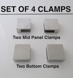 Set Glass Clamps Square large  8 - 12mm glass