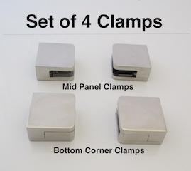 Set of 4  Small Square Glass Clamps 6 - 10mm glass