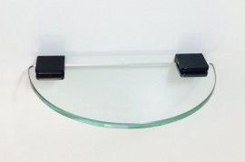 Glass Shelf - 300mm x 150mm Curved - Black Clamps