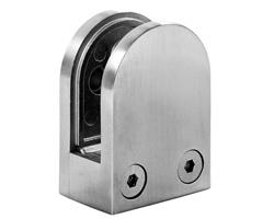 A1250 Round 316 Stainless Steel Glass Clamp - FLAT BASE
