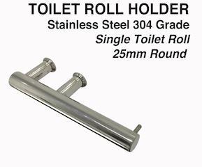Toilet Roll Holder - 25mm Round Stainless Steel Mirror-Black-White