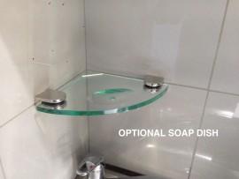Glass Shelf Corner SOAP DISH - 200mm x 200mm