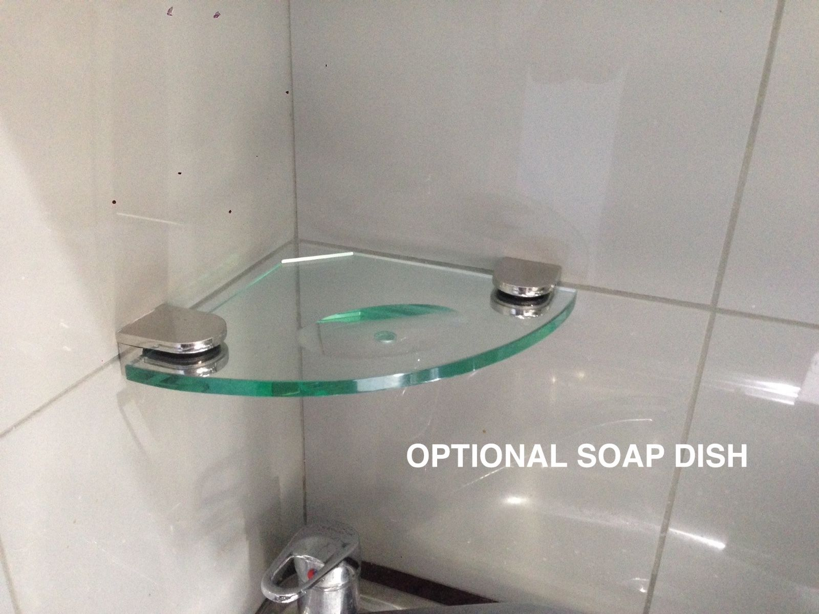 Glass Shelf Corner SOAP DISH   200mm X 200mm